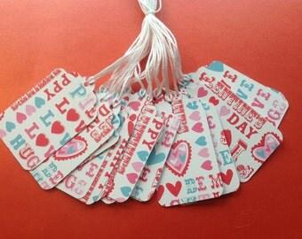 Super CLearance - 20 Die Cut Valentine Gift / Merchandise Tags (811)