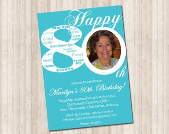 80th Birthday Invitation with picture (can do any age & colors)