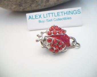 Red Rhinestone Ladybug Pin Lady Bug