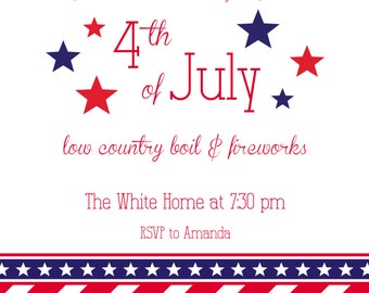 Patriotic July 4th Invitation with Envelopes, Digital Download JPG, and Note Cards