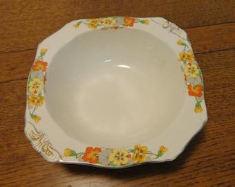 Alfred Meakin small serving bowl nasturtins pansies Tina pattern 1930s vintage orange yellow green on cream price has been reduced 30%