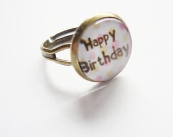 Ring Happy birthday adjustable