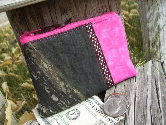 Dark Pink Camo Coin Purse, Camo Zipper Bag