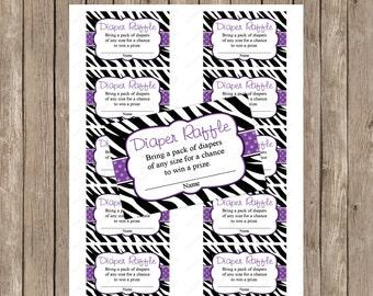 Purple Zebra Diaper raffle ticket - instant download