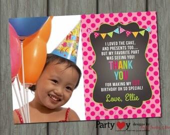 Birthday Thank You Card, Chalkboard Thank You Card, Bright Thank You Card, First Birthday Thank You Card, Photo Thank You Card