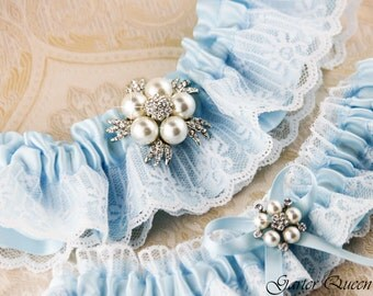 Something Blue Wedding Garter Set, Blue Bridal Garter Set, Pearl Garter Set, Keepsake Garter, Tossing Garter, Personalized Garters