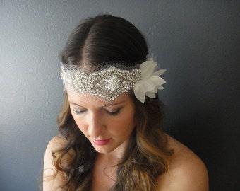 Wedding Headband, Bridal Bandeau, Bohemian Bridal, Bridal Headband, Bridal Petal headpiece, Crystal Ribbon Headband, Vintage Bridal Headband