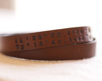 Latitude Longitude Leather Bracelet// Mens bracelet // Womens Bracelet// message bracelet//Leather wrap bracelet //Personalized Bracelet