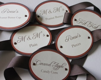 Brown & Orange Shimmer Candy Tags