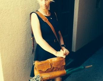 Leather Bag, Umbrella Bag, Caramel Full Grain Leather Bag, Handmade Genuine Leather Bag,