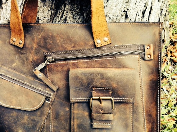 Leather Briefcase,Complicated 15 inch laptop bag, double compartmented bag office bag, man bag, office briefcase,