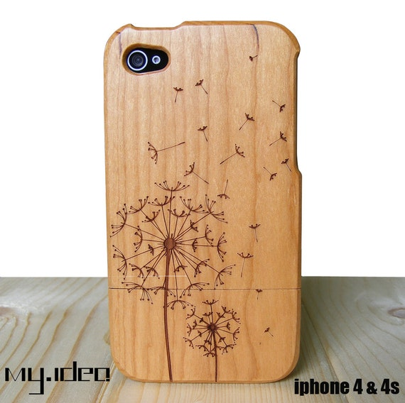 iphone 4 case, iphone 4s case, wood iphone 4 / 4s case,  wooden iphone case, 100% cherry wood dandelion iphone case, iphone cover