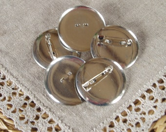 10  Broches Supports Round Silver matte 36mm