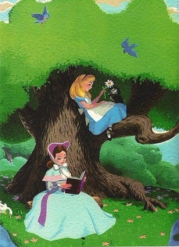 alice in wonderland in the garden childrens wall decor. Black Bedroom Furniture Sets. Home Design Ideas