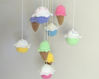 Cupcake Baby Mobile Baby Shower Ice Cream Mobile Custom