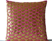 Decorative Pillows -Gold Accent Pillows -Gold Pillow -Gold Sequin pillow cover -Gold Hot Pink Cushion cover -gift -16x16 -Gold Pink pillows