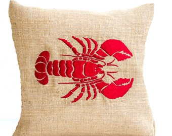 Sea pillow- Embroidered lobster pillow- Burlap pillow- Red lobster throw pillow cushion- All Size- Gift- Bedding- Red cushion Oceanic pillow