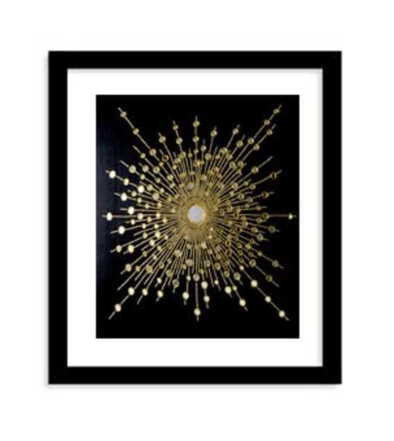 Wall Decor Starburst Gold Starburst On Pure Silk Black Silk