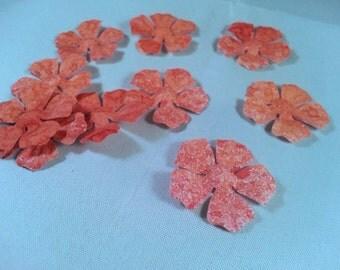 10 handmade flowers - embellishment for card