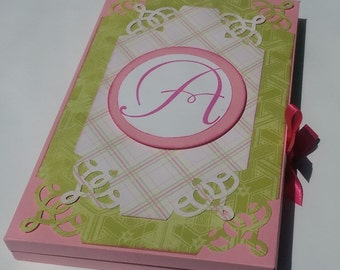 Handmade Monogram Portfolio, Journal, Note cards, Recipes Keepsakes - 5 x 7.5