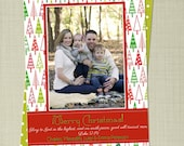Christmas Tree Doodles Christmas Photo Card printable or printed