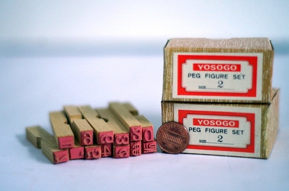 Wooden Rubber Stamp Set Numbers Very Small Supplies Scrap