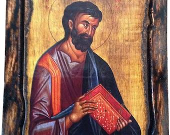 Saint St. Mark - Apostle and Eyangelist - Orthodox Byzantine icon on wood handmade (22.5cmx17cm)
