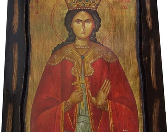 Saint St. Barbara - The Great Martyr - Orthodox icon on wood handmade (22.5 cm x 17 cm)