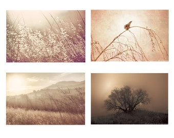 Brown Beige Gold Photo Set - Set of four photographs 4, nature wall art, autumn photos, fall photography, gold, 4 prints, 8x10 print, fog