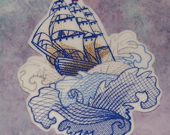 Seven Seas Retro Tattoo Style Ship on the Waves Iron On Embroidery Patch MTCoffinz
