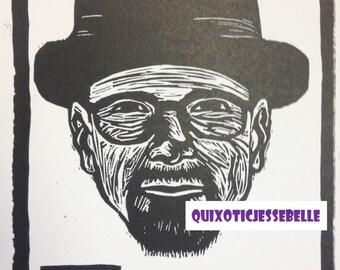 Heisenberg linocut print