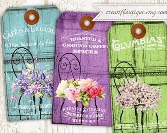 Vintage Provence Tags. Set of 3. Digital collage sheet. Instant download.
