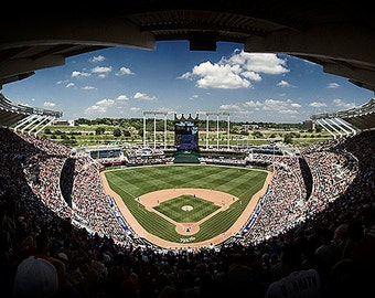Kauffman Stadium Panorama - 15x30 in. - Kansas City Royals - KC, MO - Wall Art - Wall Decor