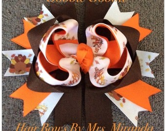 "Thanksgiving ""Gobble Gobble"" Hair Bow"