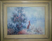 Vintage oil painting of lady in Victorian dress by a lake