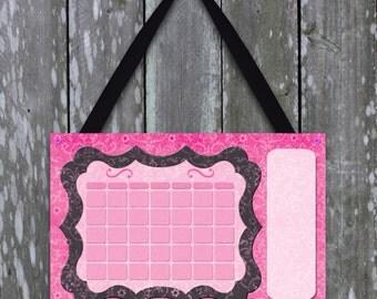 Cute pink and black damask print dry erase calendar for girls