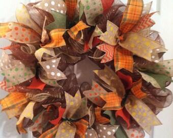 Fall Wreath/ Burlap Ribbon Wreath/ Thanksgiving Deco Mesh Wreath/ Rustic Harvest Wreath