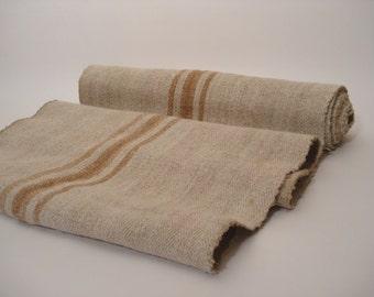 Antique Handloomed UPHOLSTERY Caramell Fabric/ Antique Hemp Linen Ecofriendly for Stairrunner 3 Yard