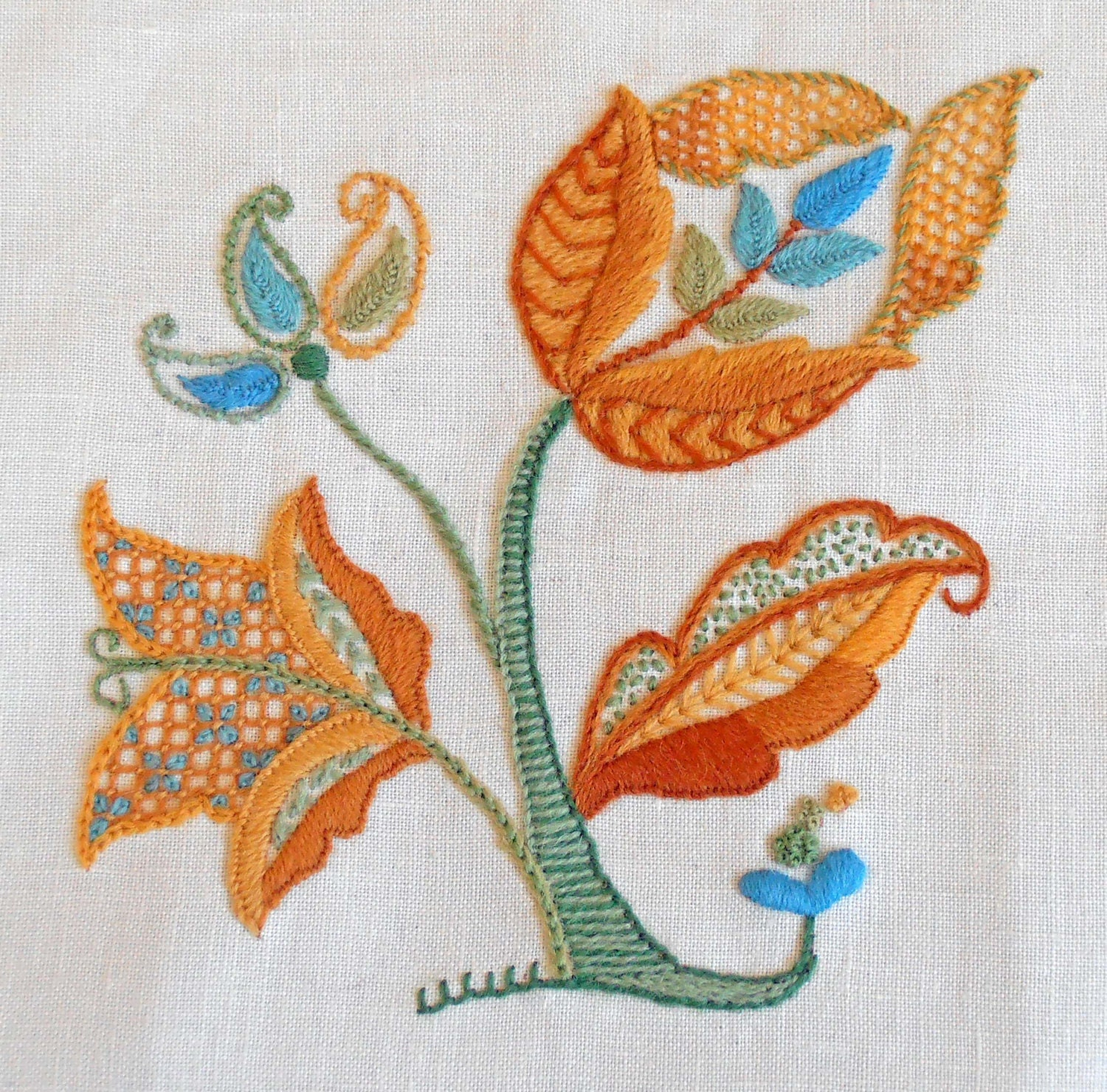 Crewel embroidery kit autumn gold