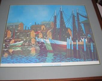 """GLOUSTER HARBOR- Large Framed 1988 Print By Joseph DiGemma 29"""" X 32 1/2"""""""