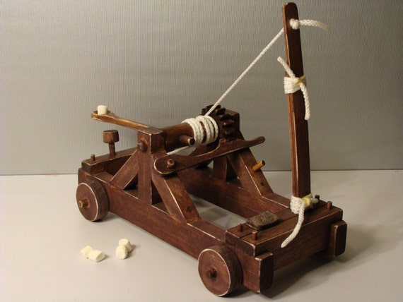 Mini Marshmallows Catapult Hand Made Wooden Toy Catapult