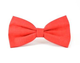 Cherry Linen Bow Tie - Red Detachable Dapper Pet Bow Tie