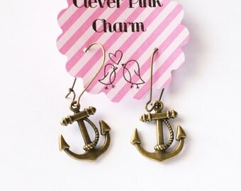 Nautical Anchor Charm Earrings
