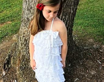 White Lace Dress, Communion dress, Baptism dress, dedication, Junior Bridesmaid, Flower Girls dress, Ruffled Lace Dress/MYSWEETCHICKAPEA