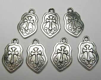 Antique Silver Cross Shield Charms 10 QTY
