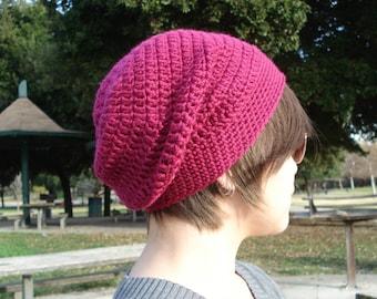 Crochet Slouchy Beanie - Raspberry, slouchy hat, crochet hat raspberry