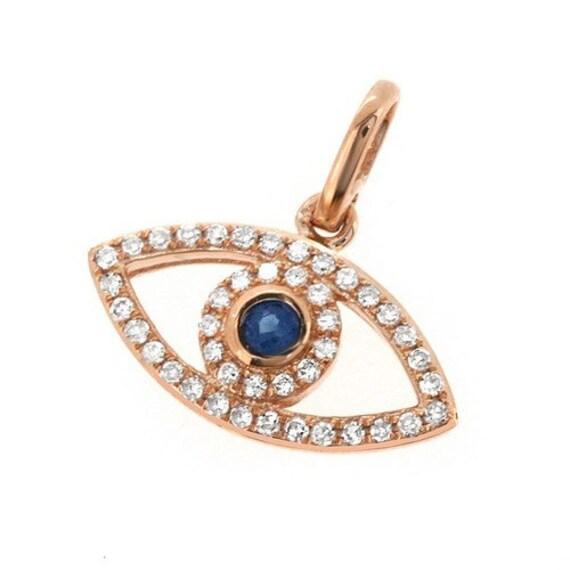 blue sapphire diamond evil eye pendant necklace 14k rose. Black Bedroom Furniture Sets. Home Design Ideas
