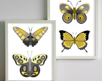 """Butterfly Collection Canvas Prints, 2 5"""" X 7"""" wall art prints"""