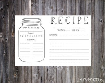 Mason Jar Recipe Card 4x6- Instant Download