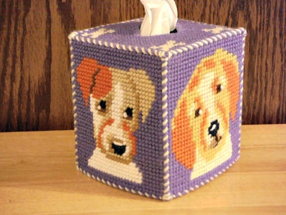 how to make a needlepoint tissue box cover